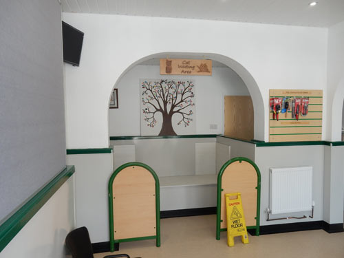 cat waiting area at vets in preston